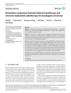 modulated radiotherapy for esophageal ... - Wiley Online Library