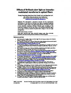 modulated waveforms in optical fibers - OSA Publishing