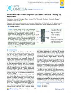 Modulation of Cellular Response to Arsenic ... - ACS Publications