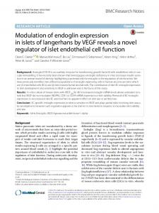Modulation of endoglin expression in islets of langerhans by VEGF ...