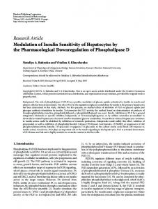 Modulation of Insulin Sensitivity of Hepatocytes by the ...