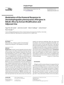 Modulation of the Humoral Response to ...