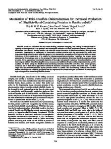 Modulation of Thiol-Disulfide Oxidoreductases for Increased ...
