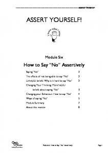 "Module 6: How to say ""no"" assertively - Centre for Clinical ..."