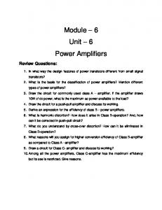 Module – 6 Unit – 6 Power Amplifiers - nptel