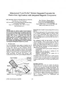 Module Integrated Converter For Photovoltaic ... - Semantic Scholar