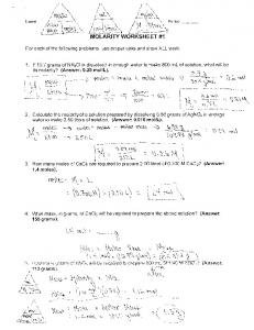 Molarity Worksheet Name Key 1. What is the molarity of a solution ...