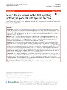 Molecular alterations in the TCR signaling pathway in patients with ...