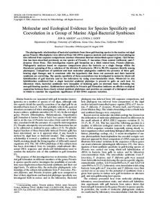 Molecular and Ecological Evidence for Species Specificity and ...