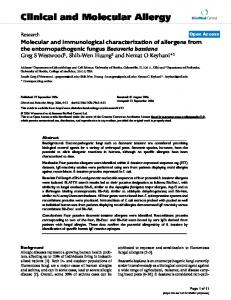 Molecular and immunological characterization of allergens from the ...