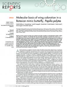 Molecular basis of wing coloration in a Batesian ... - BioMedSearch