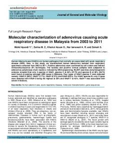 Molecular characterization of adenovirus causing ... - Academic Journals