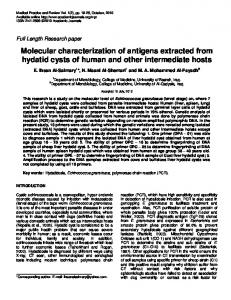 Molecular characterization of antigens extracted ... - Academic Journals