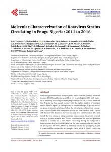 Molecular Characterization of Rotavirus Strains