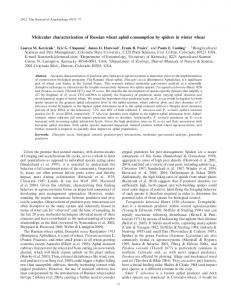 Molecular characterization of Russian wheat aphid ... - BioOne