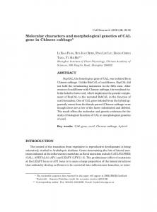 Molecular characters and morphological genetics of ...