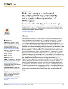 Molecular cloning and biochemical characterization of two ... - Plos