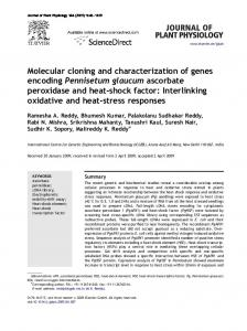 Molecular cloning and characterization of genes ...