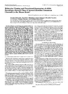 Molecular Cloning and Functional Expression of cDNA Encoding a ...