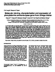 Molecular cloning, characterization and expression of phenylalanine ...