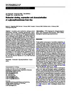 Molecular cloning, expression and characterization of a ...