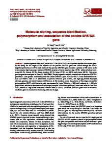 Molecular cloning, sequence identification, polymorphism and ...