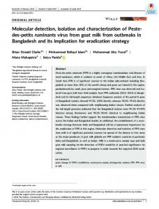 Molecular detection, isolation and characterization of ...