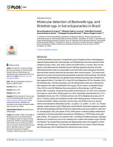Molecular detection of Bartonella spp. and Rickettsia spp. in ... - PLOS
