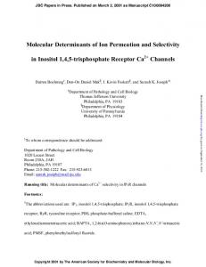 Molecular Determinants of Ion Permeation and Selectivity in Inositol 1 ...