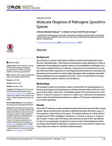 Molecular Diagnosis of Pathogenic Sporothrix Species - PLOS