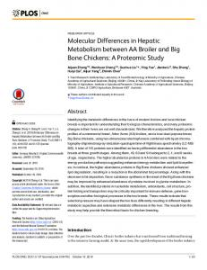 Molecular Differences in Hepatic Metabolism ... - Semantic Scholar