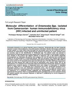 Molecular differentiation of Entamoeba Spp. isolated ...