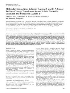 Molecular Distinctions between Aurora A and B: A Single ... - CiteSeerX
