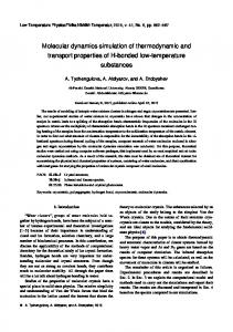 Molecular dynamics simulation of thermodynamic and transport