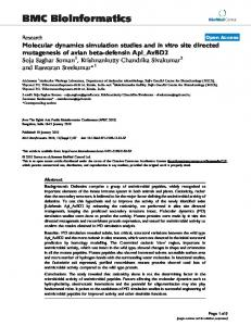 Molecular dynamics simulation studies and in vitro site directed ...