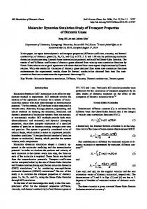 Molecular Dynamics Simulation Study of Transport ... - KCS Publications