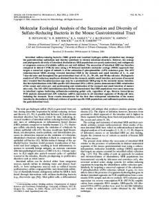 Molecular Ecological Analysis of the Succession and Diversity of ...