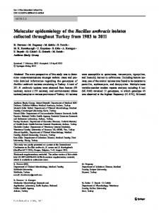 Molecular epidemiology of the Bacillus anthracis ... - Semantic Scholar