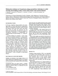 Molecular evidence of Anaplasma ... - Wiley Online Library