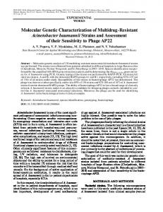 Molecular Genetic Characterization of Multidrug ... - Springer Link