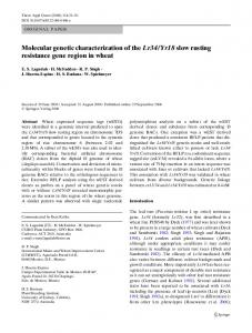 Molecular genetic characterization of the Lr34/Yr18 ... - Springer Link