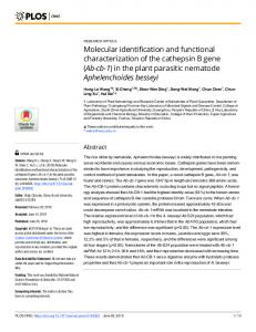 Molecular identification and functional characterization of the ... - PLOS
