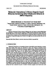 Molecular Interactions in Binary Organic Liquid ...