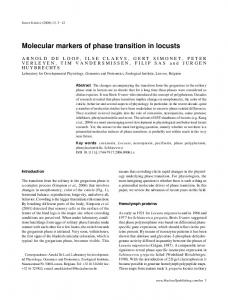 Molecular markers of phase transition in locusts - Wiley Online Library