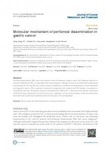 Molecular mechanism of peritoneal dissemination in gastric cancer