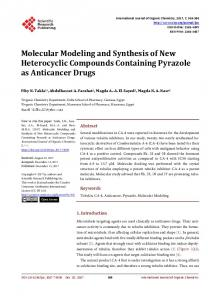 Molecular Modeling and Synthesis of New Heterocyclic Compounds ...