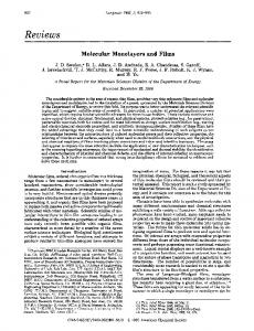 Molecular monolayers and films. A panel report for ... - ACS Publications