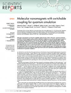 Molecular nanomagnets with switchable coupling for quantum ...