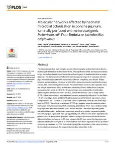 Molecular networks affected by neonatal microbial ... - PLOS
