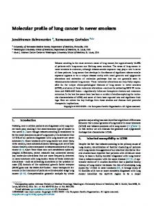Molecular profile of lung cancer in never smokers - Semantic Scholar